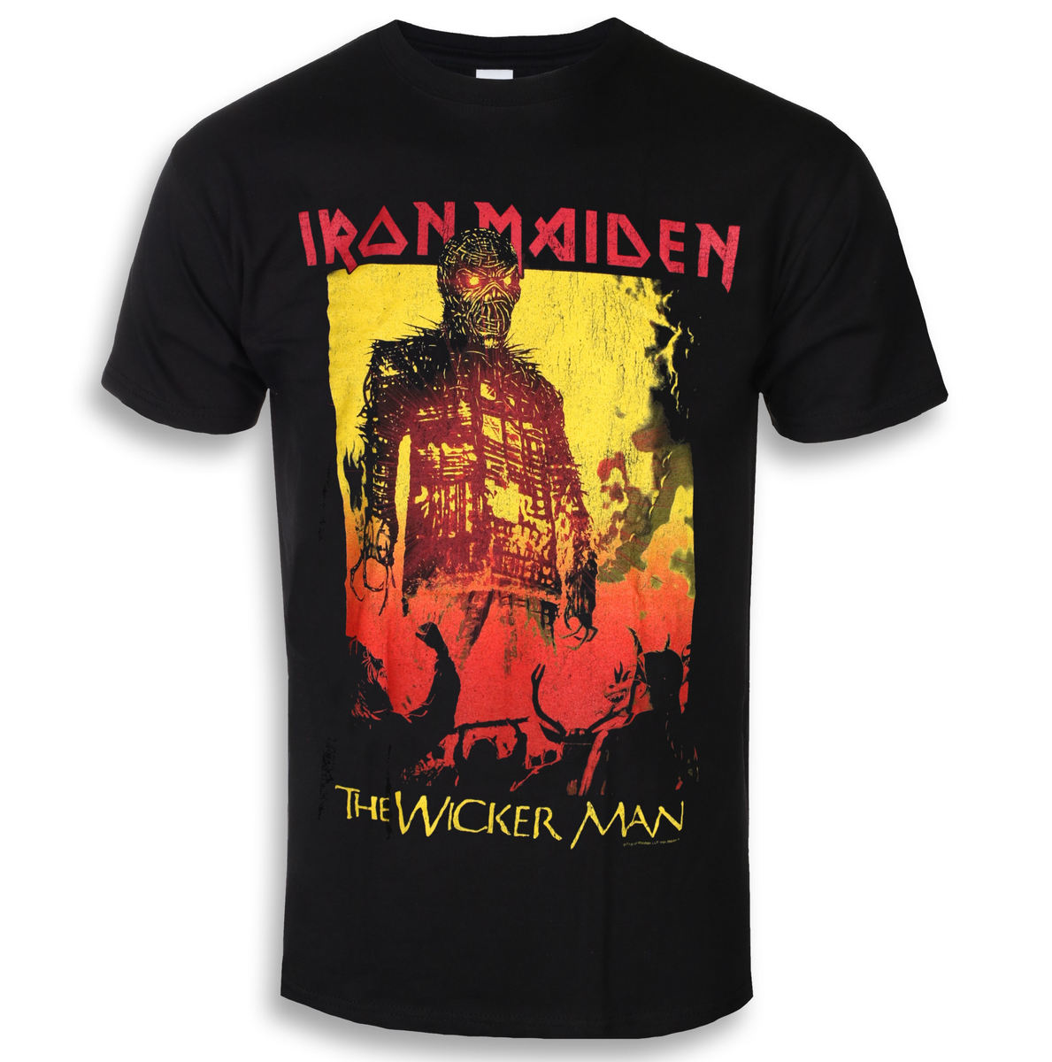 Tričko metal ROCK OFF Iron Maiden The Wicker Man Fire černá M