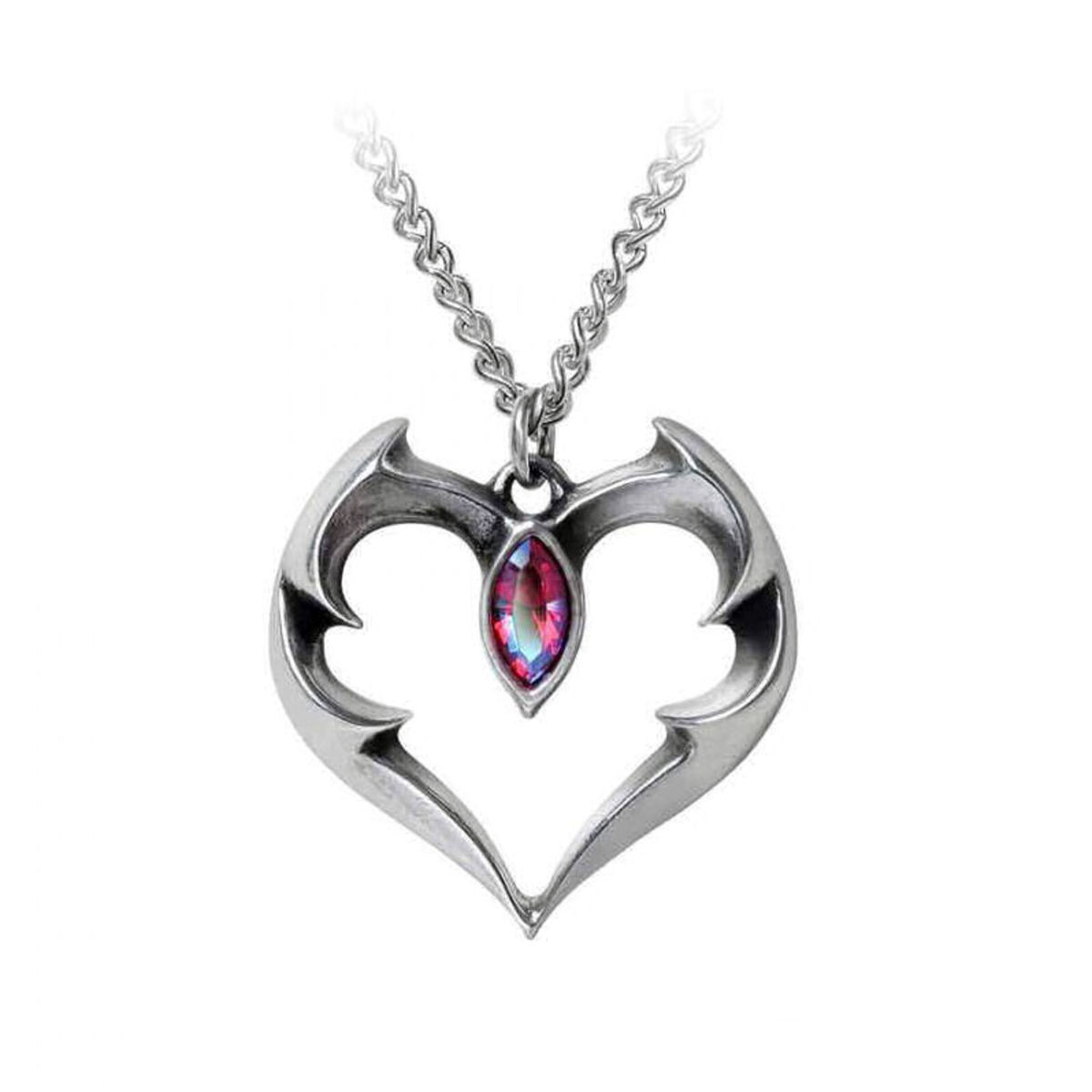 obojek ALCHEMY GOTHIC - Bat Heart - Pewter - P900