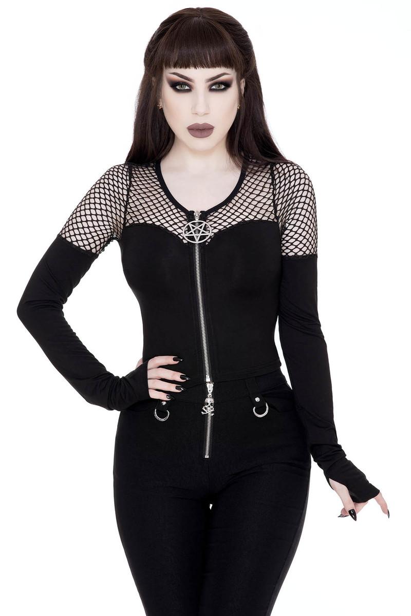 tričko dámské s dlouhým rukávem (top) KILLSTAR - Dee Mony - KSRA001719 XS