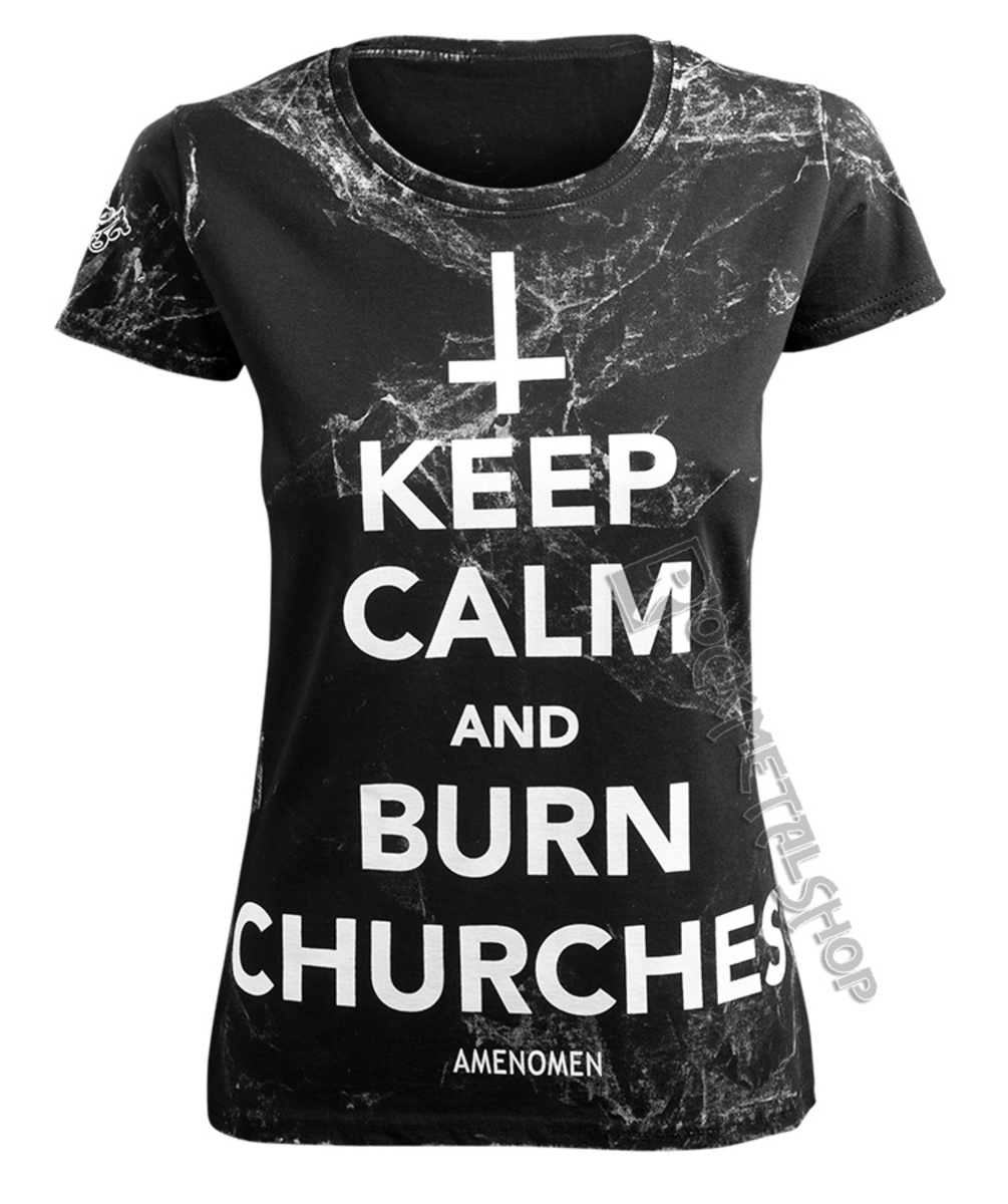 AMENOMEN KEEP CALM AND BURN CHURCHES černá