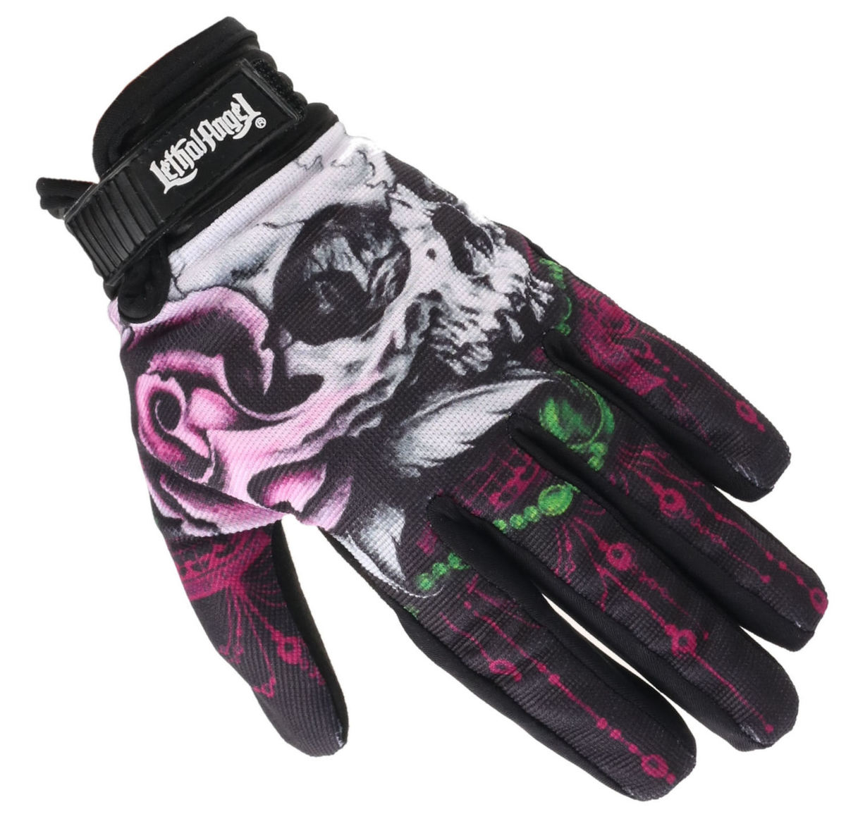 rukavice LETHAL THREAT - FLORAL SKULL - GL15006 S