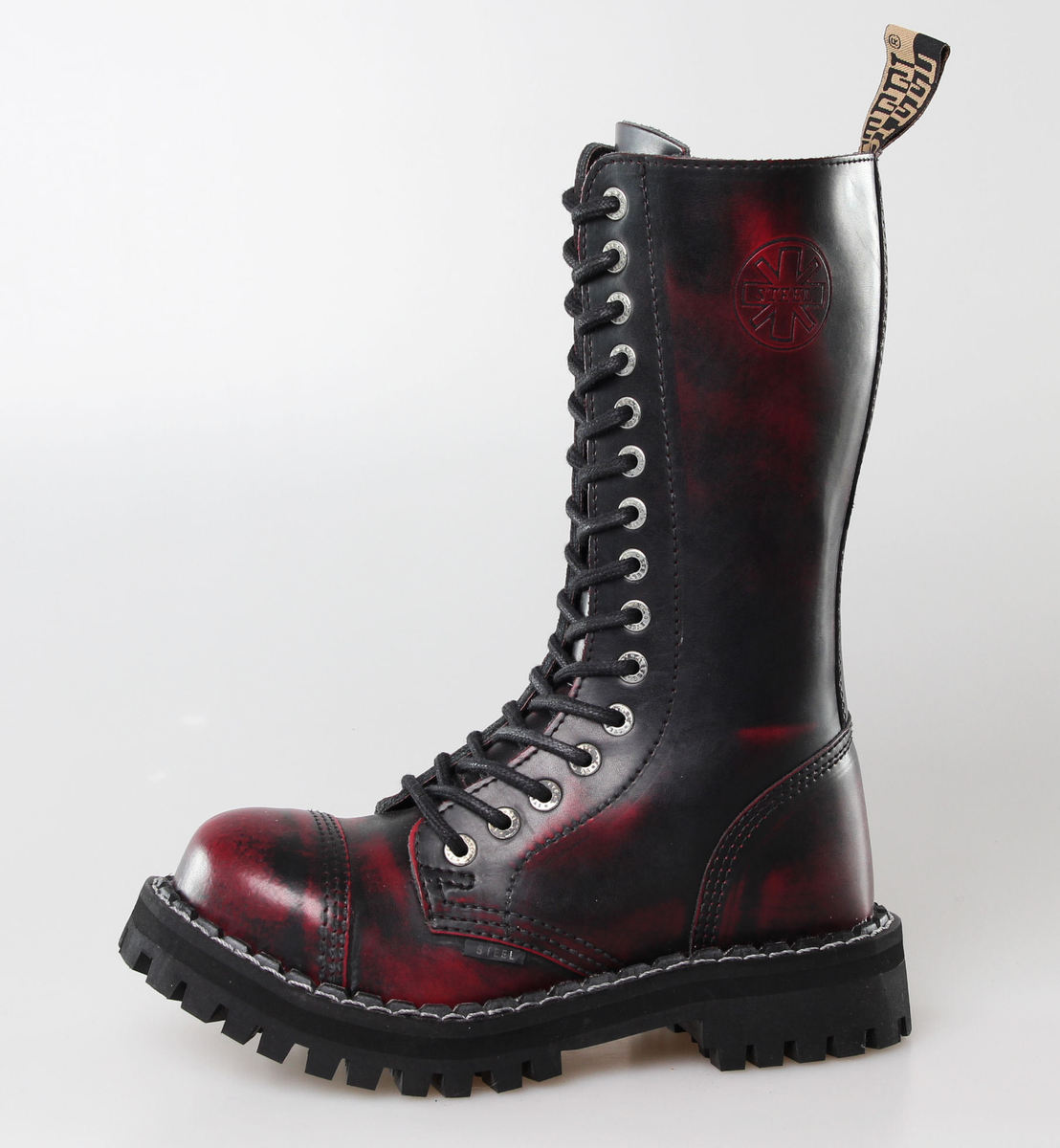 boty STEEL - 15 dírkové Vínové (135/136 Red black-Burgund )