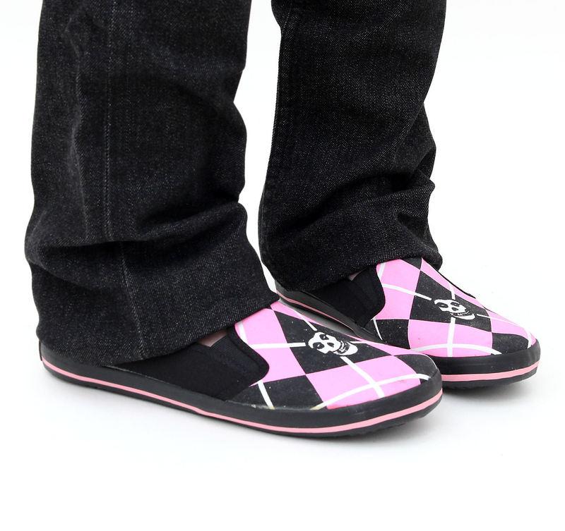 boty dámské DRAVEN - Misfits - Fiend Argyle Slip on - MCMF 011 - BKP Black/Pink