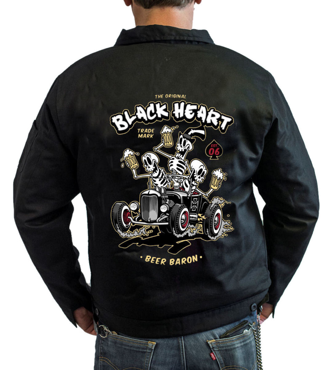 bunda pánská BLACK HEART - BEER BARON - BLACK - 006-0010-BLK