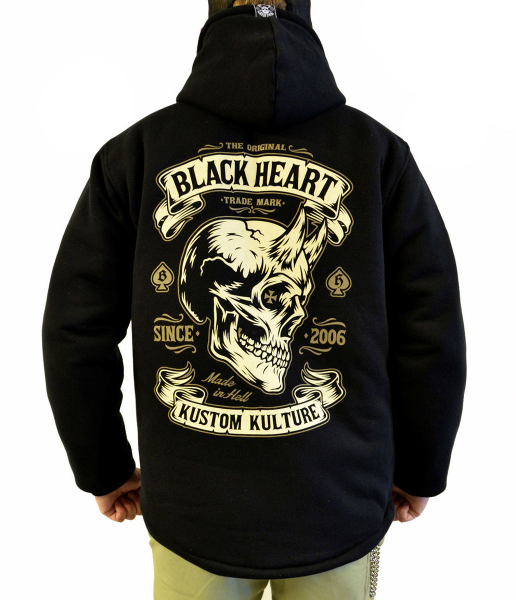bunda pánská BLACK HEART - DEVIL SKULL LINED - BLACK - 003-0045-BLK