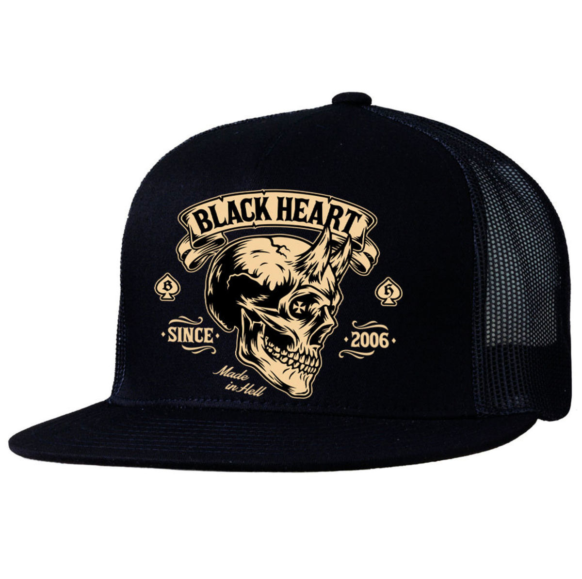 kšiltovka BLACK HEART - DEVIL SKULL - BLACK - 022-0048-BLK