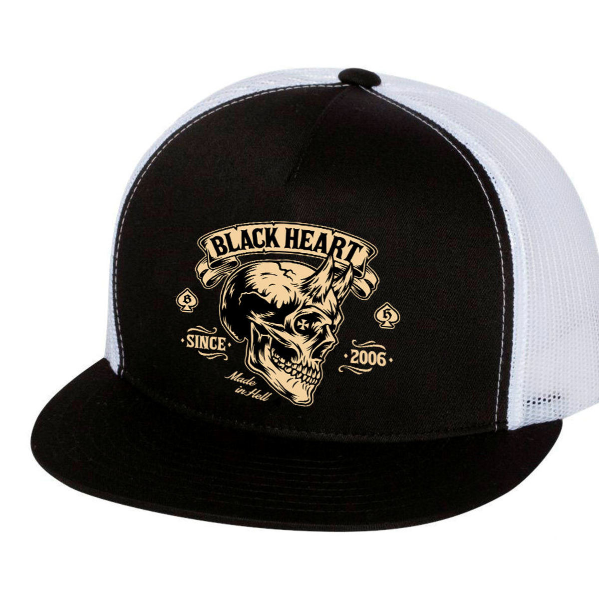 kšiltovka BLACK HEART - DEVIL SKULL - WHITE - 022-0049-WHT