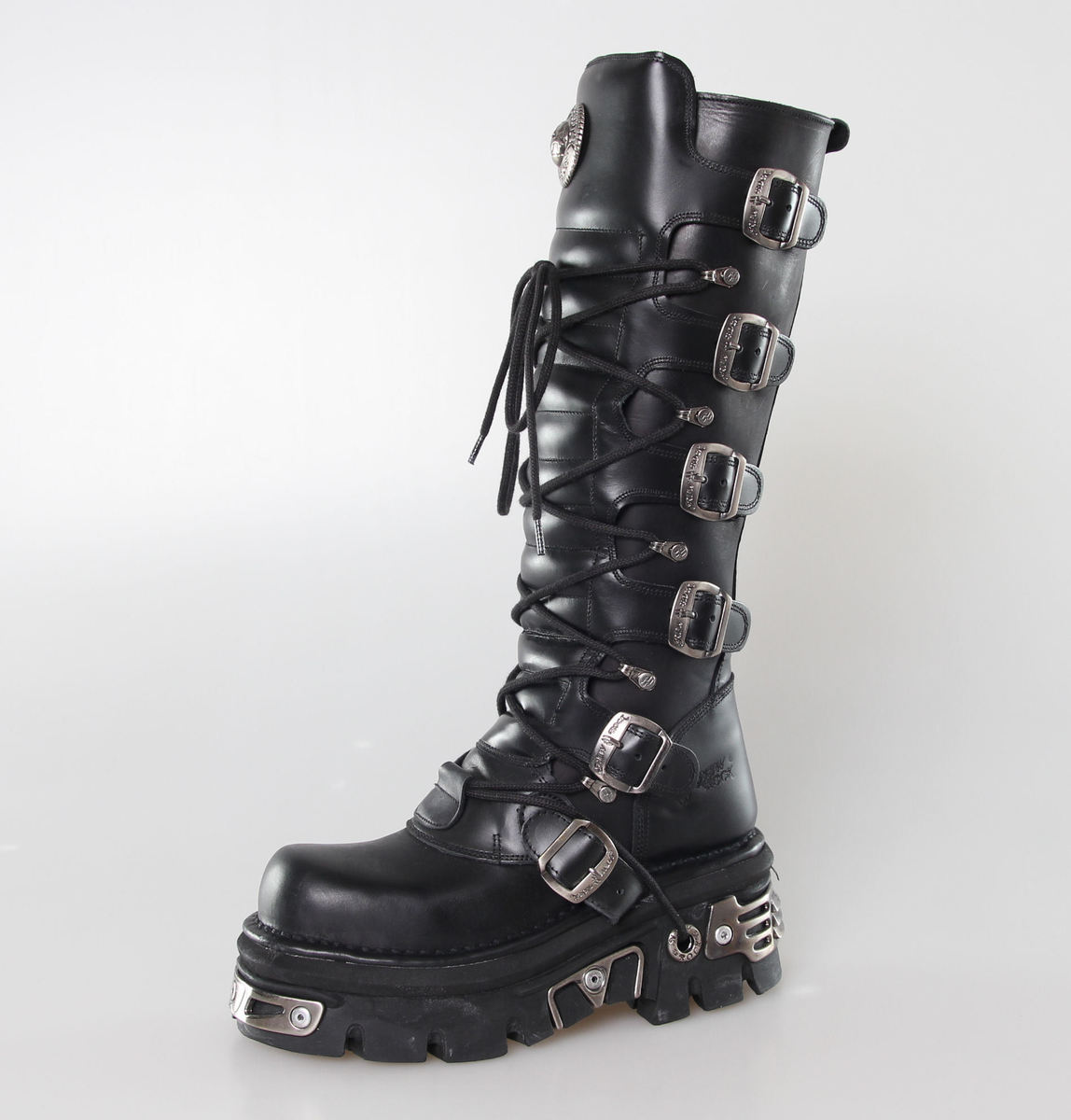 Boty New rock - 6-Buckle Boots (272-S1) Black - N-8-08-700-00