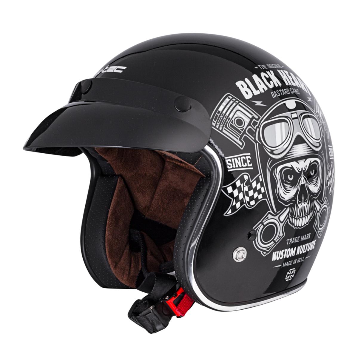 přilba black heart - piston skull - black XXL