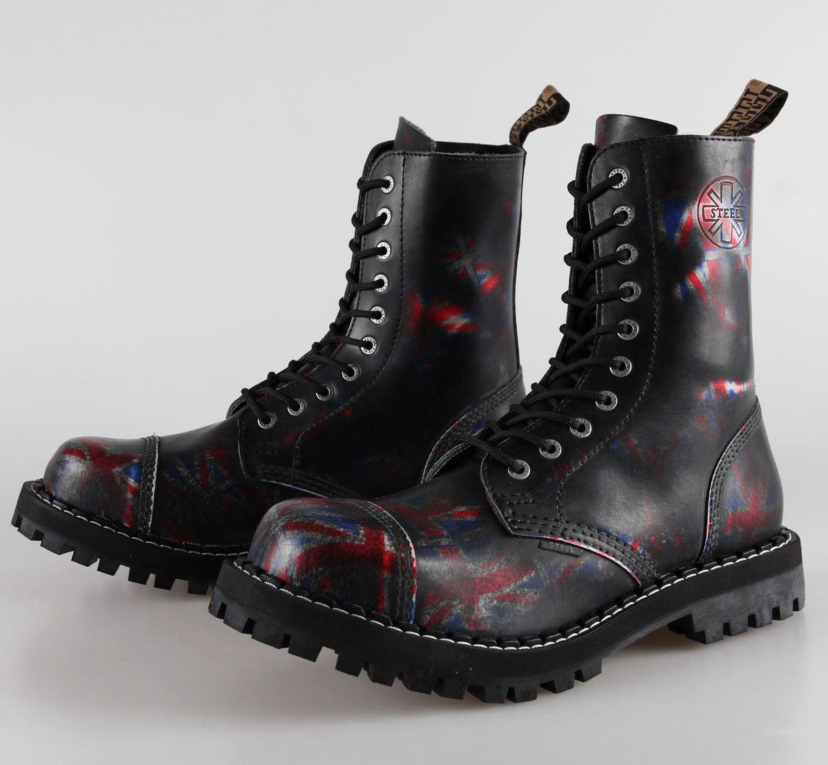 boty STEEL - 10 dírkové Union Jack Black ( 105/106 Uk Black )