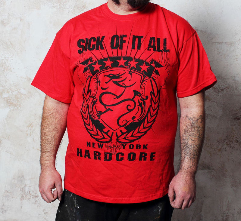 tričko pánské Sick Of It All - HC Crest - Red - BUCKANEER - 1295