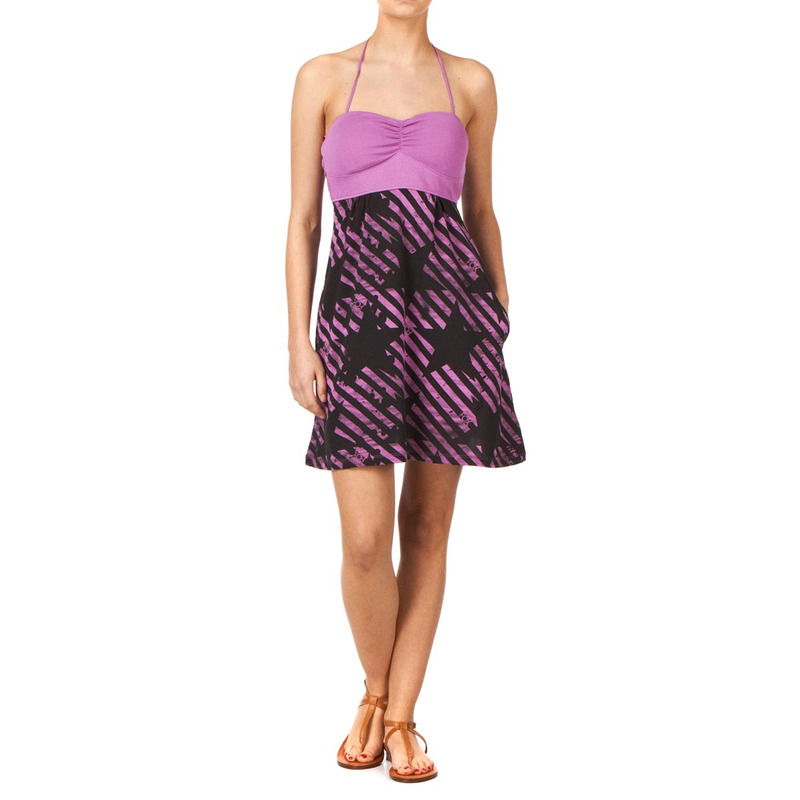 šaty dámské FOX - Stripe Out Dress - LILAC XL