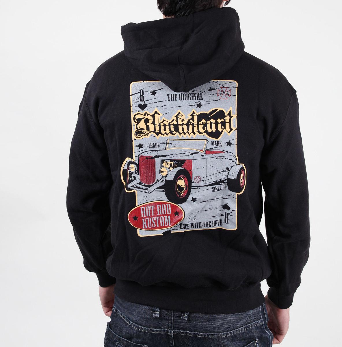 mikina pánská s kapucí BLACK HEART - Death Rod - Black