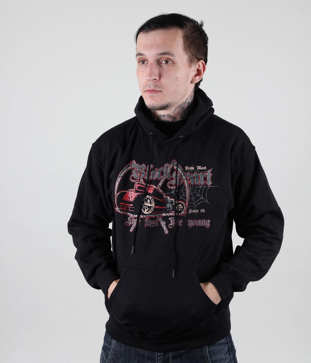mikina pánská s kapucí BLACK HEART - Red Death - Black