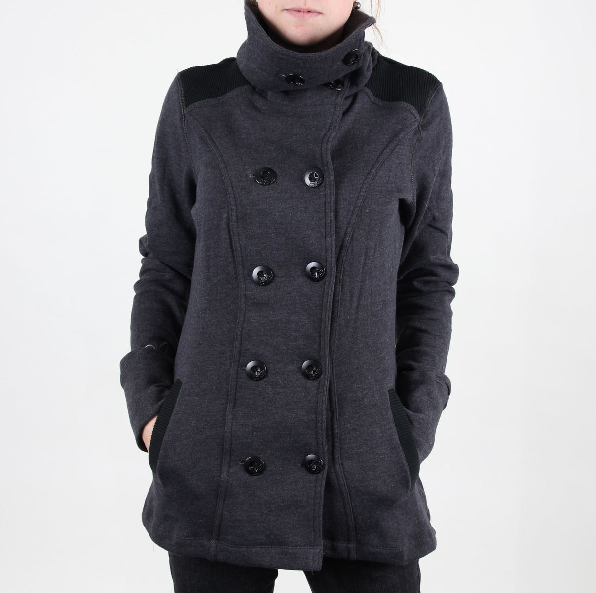 mikina bez kapuce dámské - Check It Peacoat - FOX - Charcoal Heather