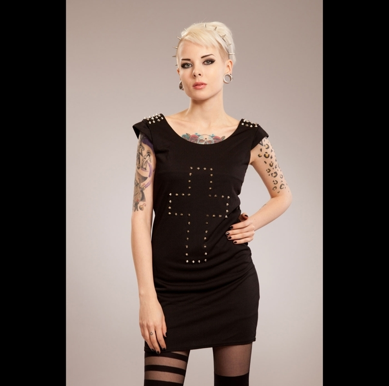 šaty dámské POIZEN INDUSTRIES - Cross Spike - Black M
