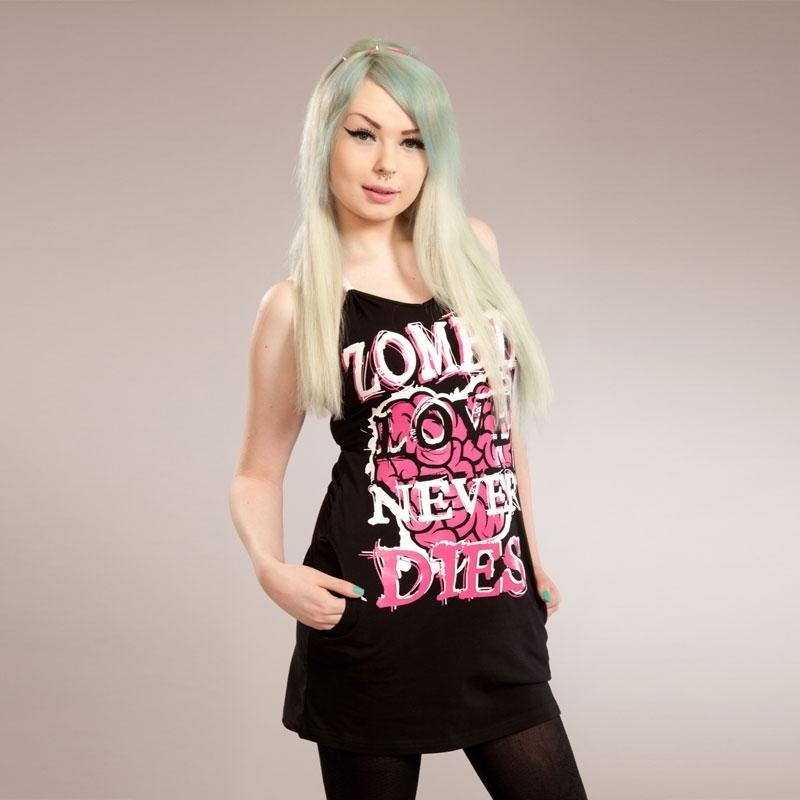 šaty dámské POIZEN INDUSTRIES - Love 2 Die - Black/Pink S