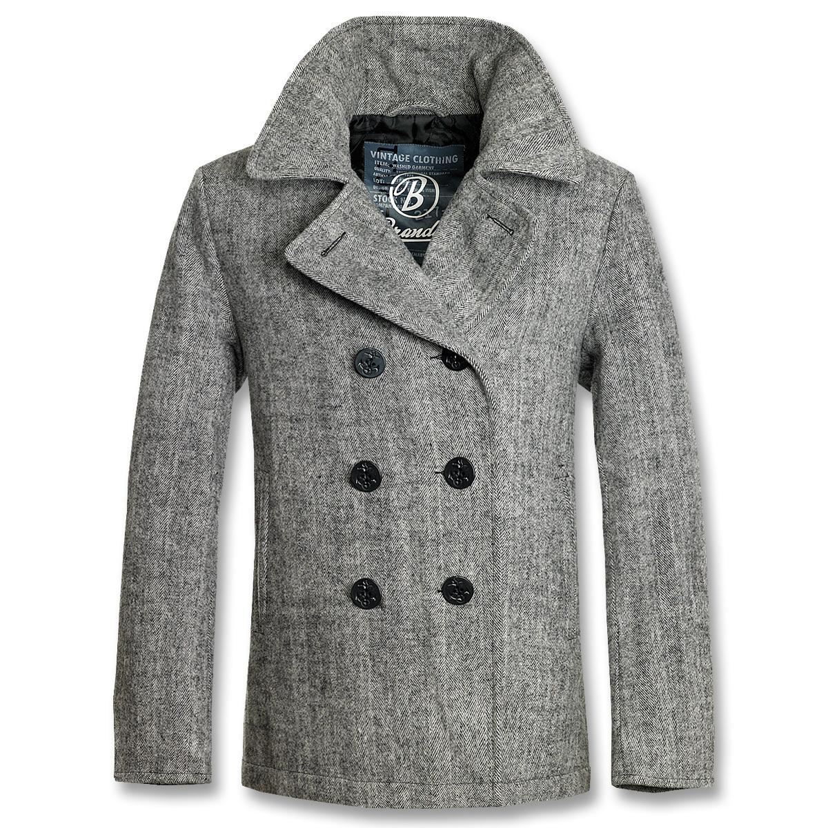 kabát pánský zimní BRANDIT - Pea Coat Anthracite Heringbon - 3109/68