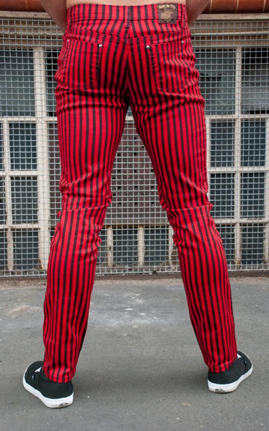 kalhoty pánské 3RDAND56th - Striped Skinny Jeans - Blk/Red - JM1176