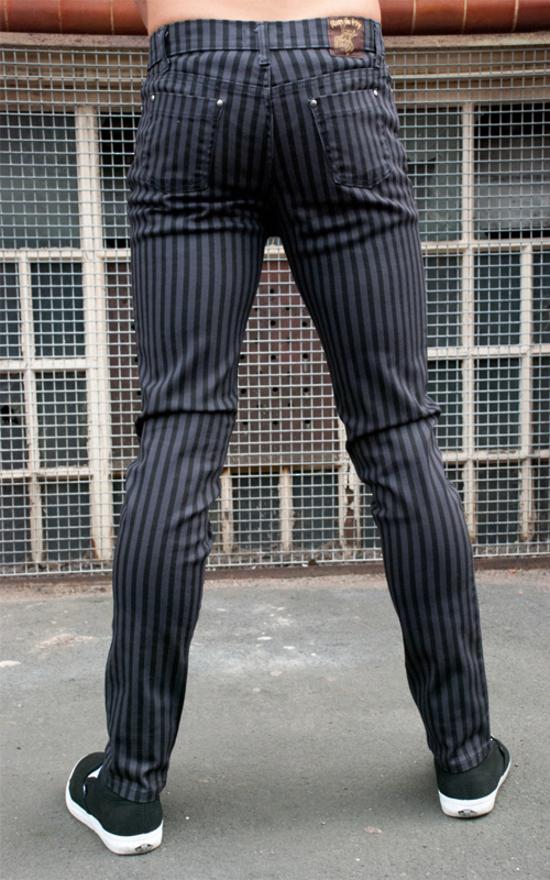 kalhoty pánské - 3RDAND56th - Striped Skinny Jeans - Blk/Grey - JM1176