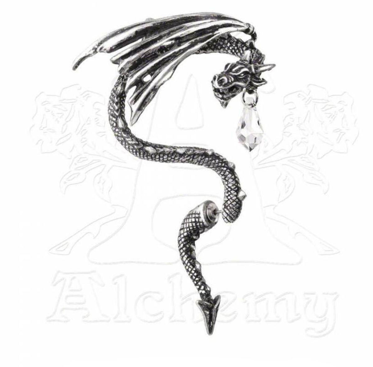náušnice ALCHEMY GOTHIC - Crystal Dragon Ear Wrap - E330