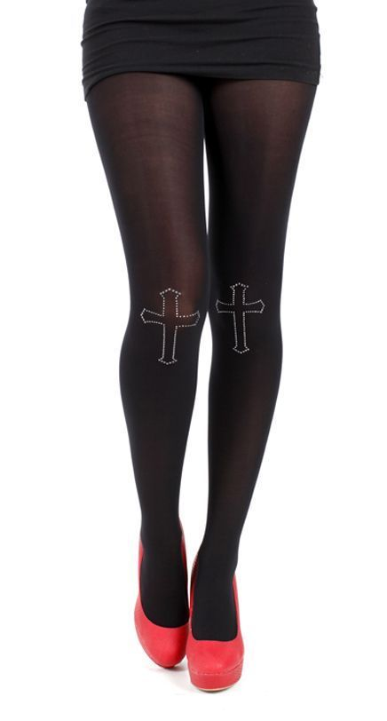 punčocháče PAMELA MANN - 80 Denier Tights With Cross On Knee-Black - PM013