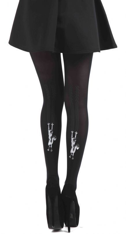 punčocháče PAMELA MANN - Flocked Tights Climbing Cats - Black - PM028