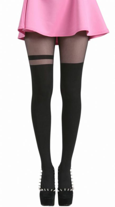 punčocháče PAMELA MANN - Over The Knee Stripe Tights - Black - PM048