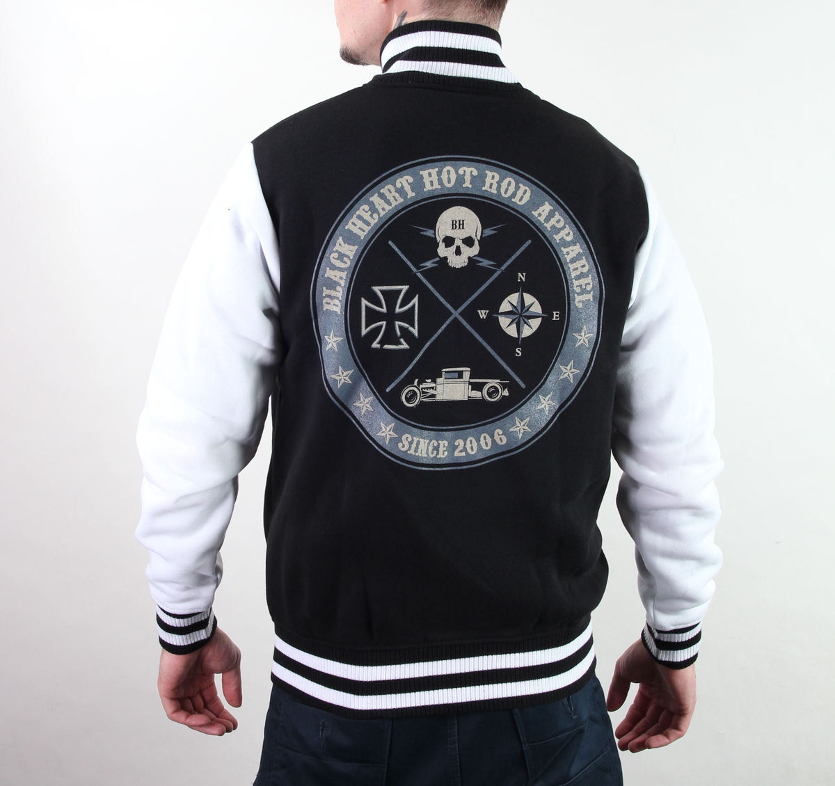 mikina pánská Baseball BLACK HEART - Circle Skull - Black