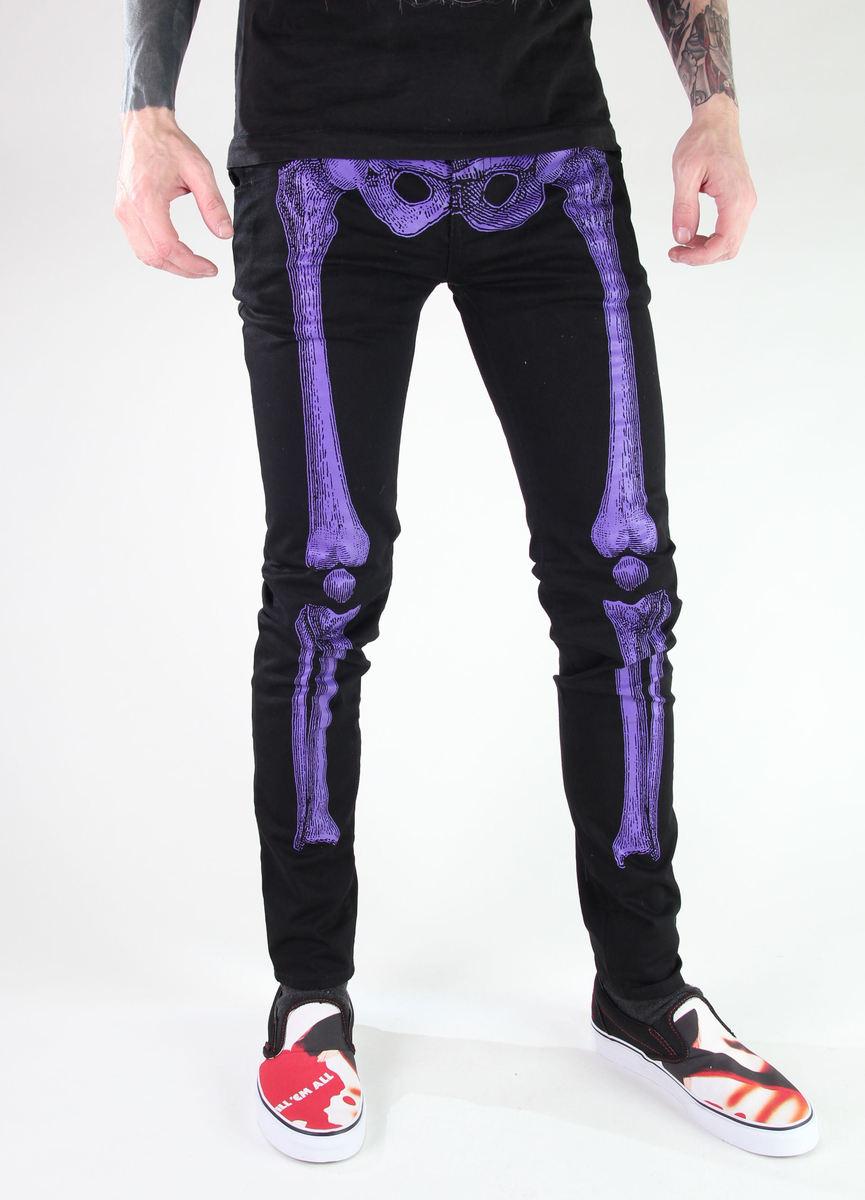 kalhoty unisex KREEPSVILLE SIX SIX SIX - Skelebone Skinny - Purple - JSLPU