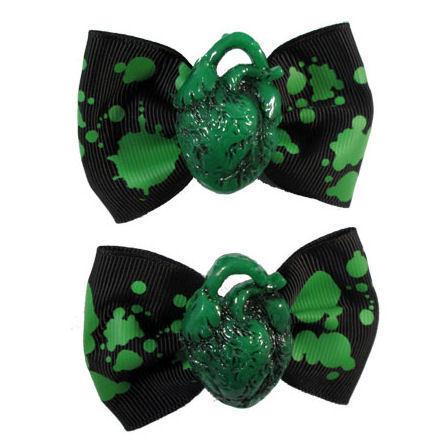 sponky KREEPSVILLE SIX SIX SIX - Hair Bow Heart - Green - HBPHG