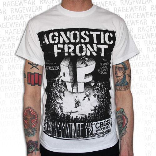 tričko pánské Agnostic Front - Old School - White - RAGEWEAR - 001TSW41