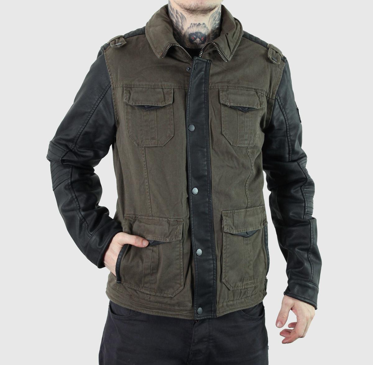 bunda pánská jarně-podzimní BRANDIT - Ray Vintage Co-Pu - Oliv/Black - 3132/19