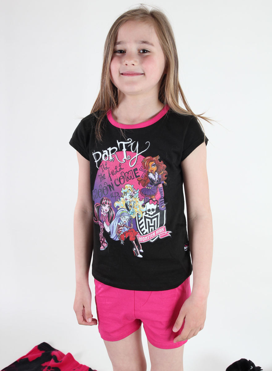 pyžamo dívčí TV MANIA - Monster High - Black - MOH 576 10/140
