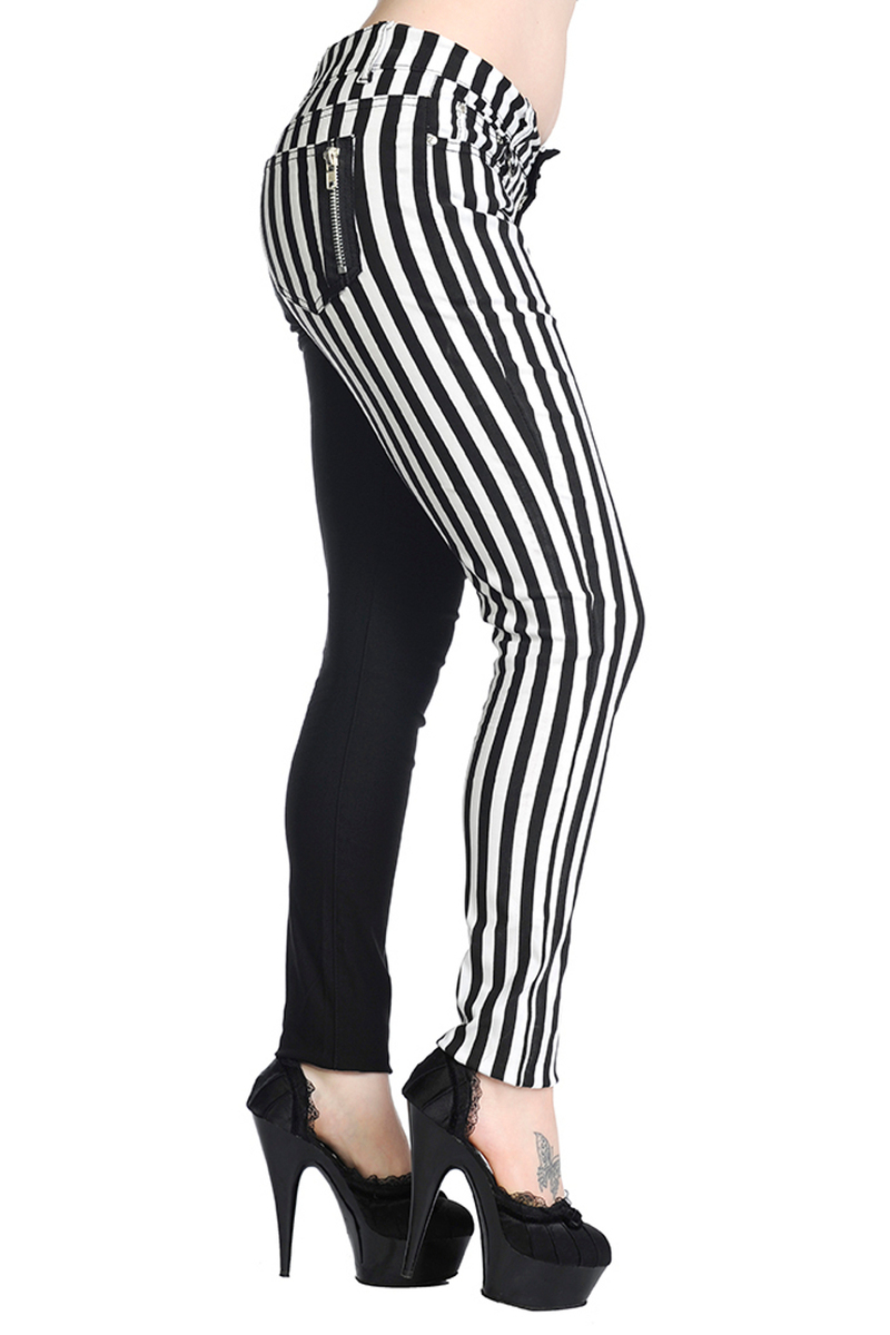 kalhoty BANNED - Striped Trousers - Half Black/Half White - TBN416WHT