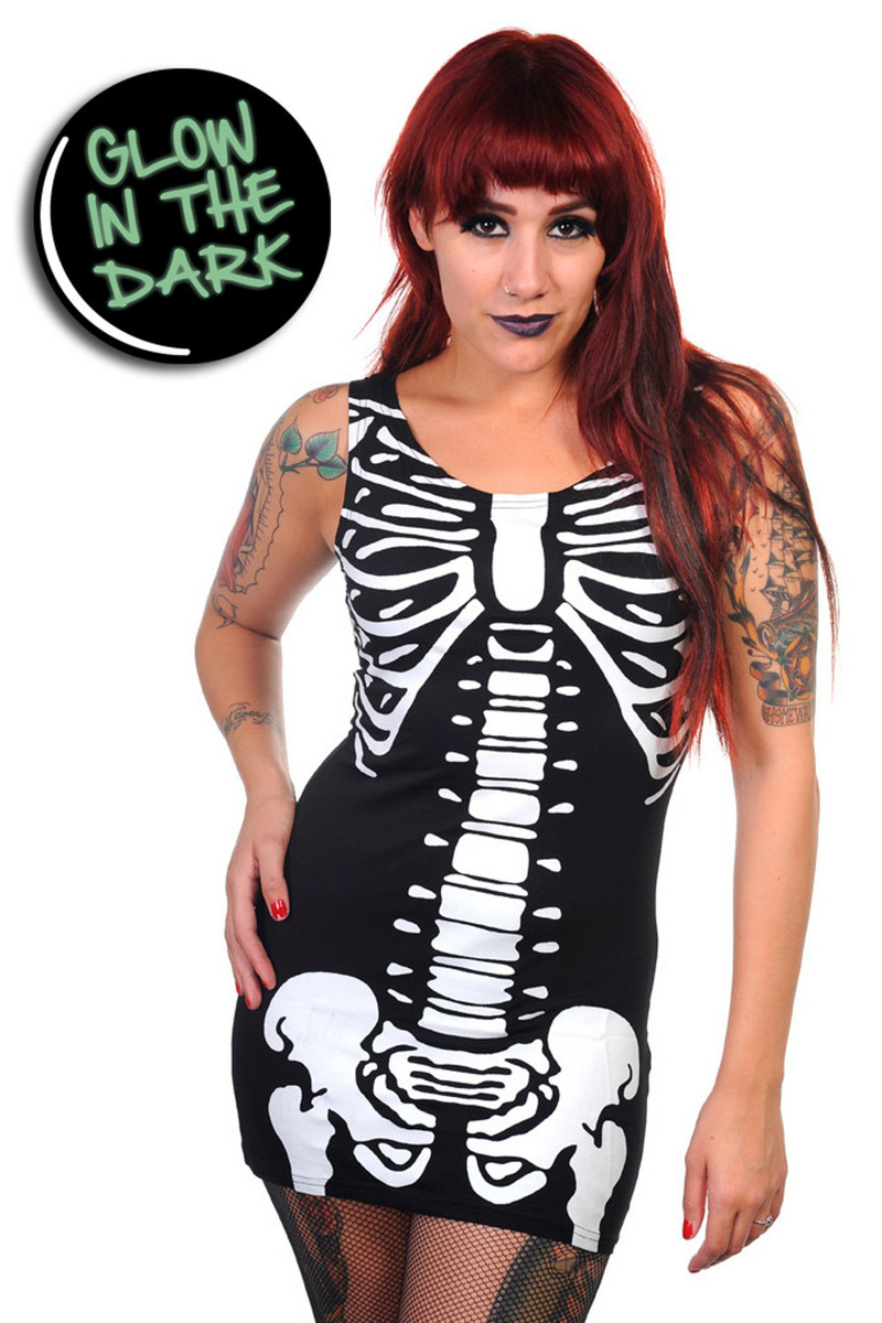 šaty dámské (tunika) BANNED - Glow In The Dark Skeleton - Black - DBN536 M