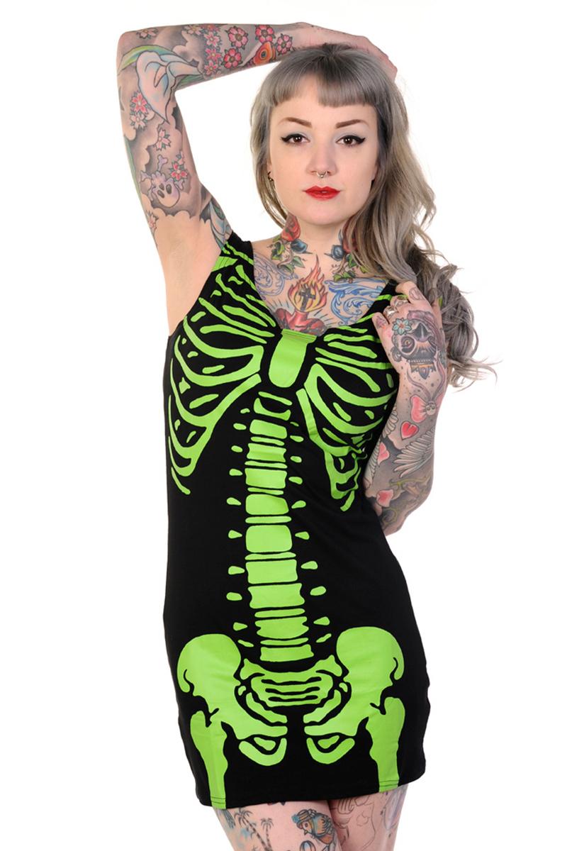 šaty dámské (tunika) BANNED - Skeleton - Green - DBN522GRE L