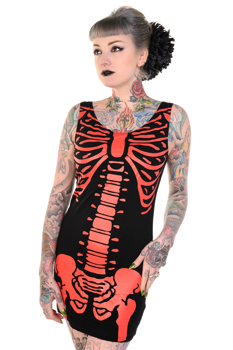 šaty dámské (tunika) BANNED - Skeleton - Red - DBN522RED L