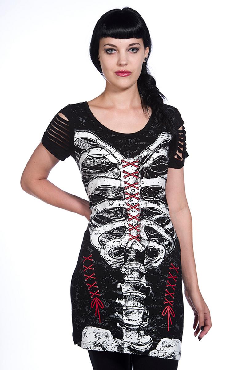 šaty dámské (tunika) BANNED - Corset Skeleton - OBN121 S