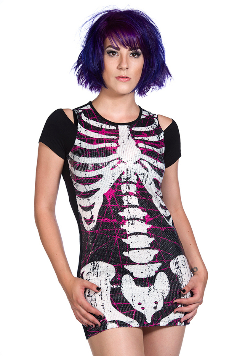 šaty dámské (tunika) BANNED - Sequins Skeleton - Black - OBN130 8