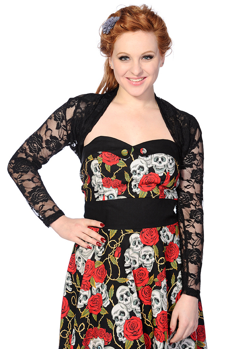 bolero BANNED - Black Lace Rose - ABN920BLK