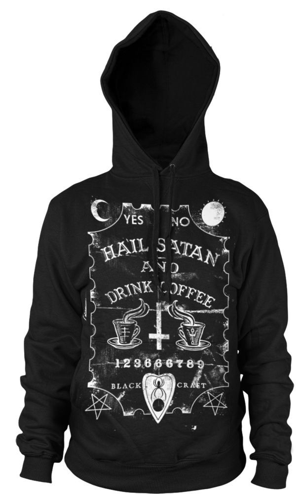 mikina pánská BLACK CRAFT - Hail Satan & Drink Coffee - Black - HS001HE