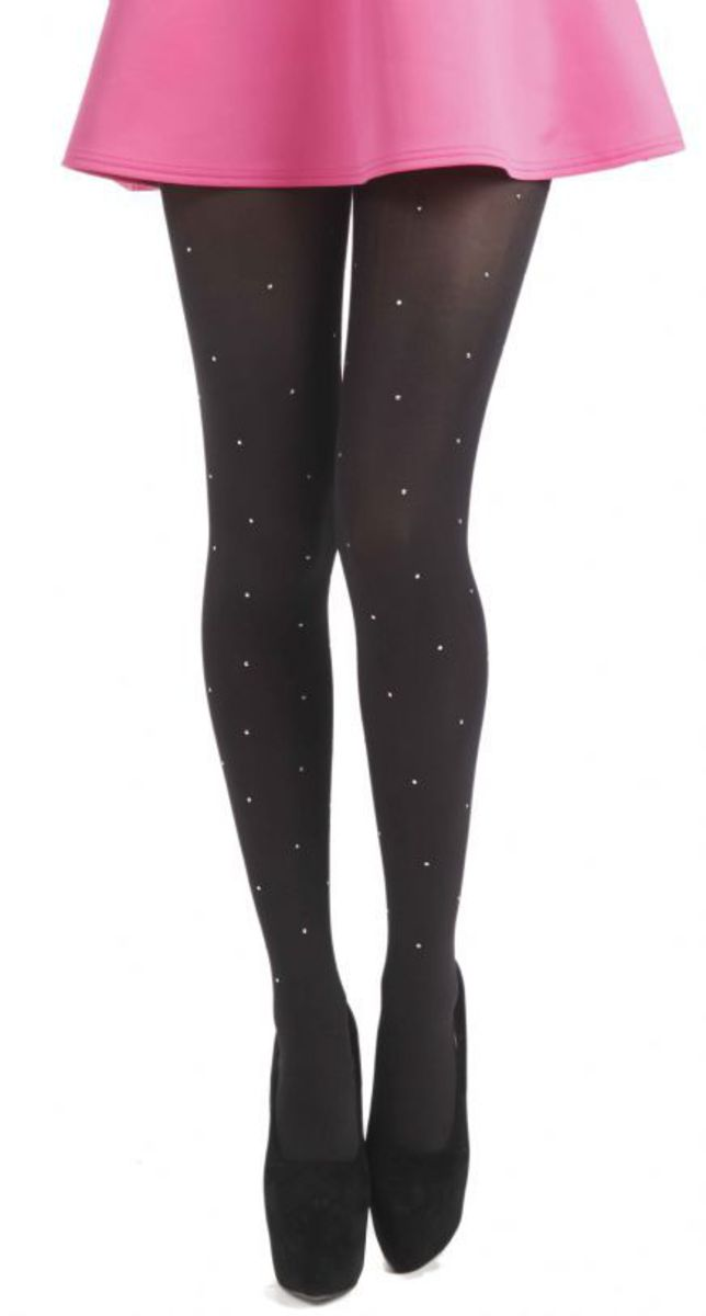 punčocháče PAMELA MANN - 50 Denier 3D Tights - Black with Diamante Seam - 116