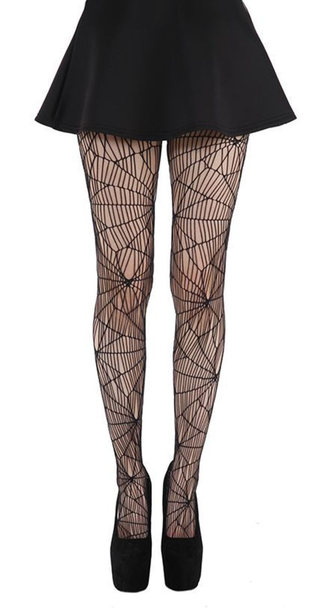 punčocháče PAMELA MANN - Cobweb Pattern Tights - Black - PM075 XL