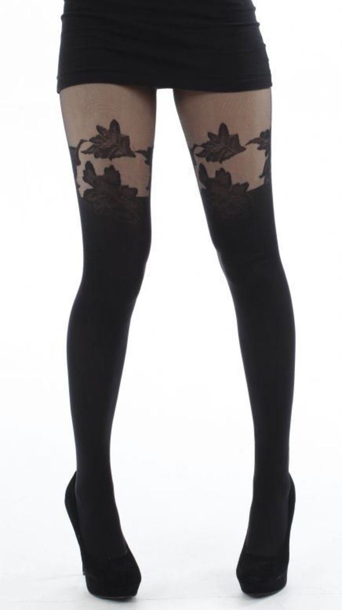 punčocháče PAMELA MANN - Floral Suspender Tights - Black - PM083 SM