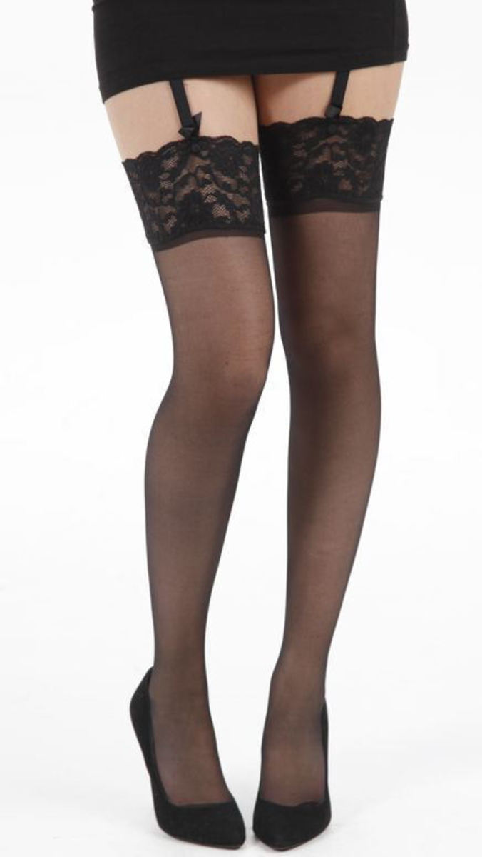 nadkolenka PAMELA MANN - Lace Top Stocking - Black - 085