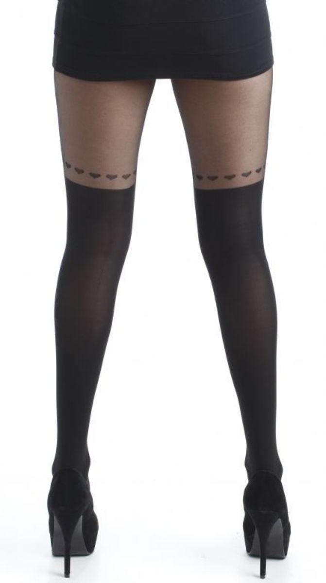 punčocháče PAMELA MANN - Over The Knee Hearts Tights - Black - PM111