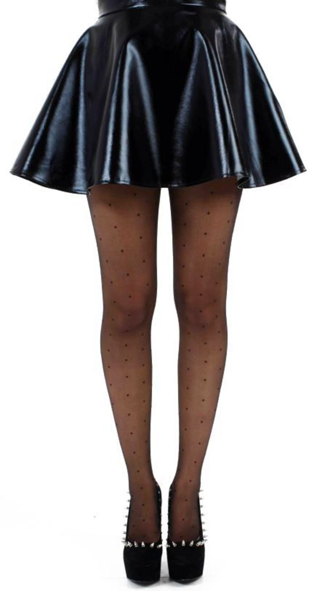 punčocháče PAMELA MANN - Sheer Dotty Tights - Black - 114