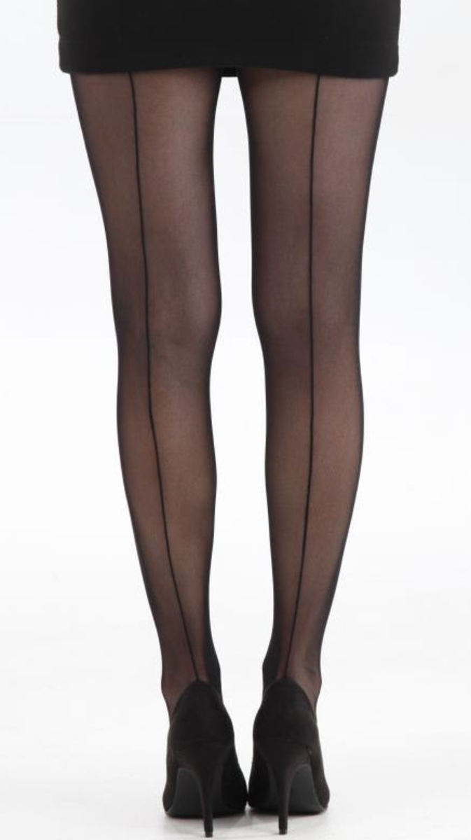 punčocháče PAMELA MANN - Tulle Seamed Tights - Black - 101