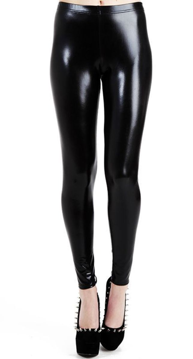 legíny PAMELA MANN - Wet Look Leggings - Black - PM076 S/M